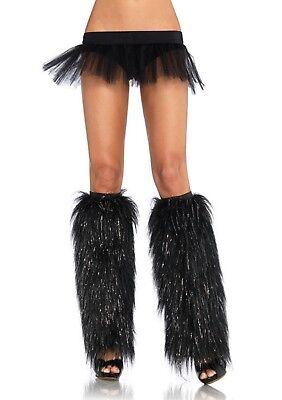 Sexy Gambali Pelliccia Neri Lurex Clubwear Rave Monster Go Go Disco Leg Avenue - Gogo Monster Kostüm