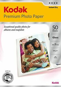 Kodak PREMIUM A4 Gloss Photo Paper 50 sheet +FREE Magnetic PhotoPaper A4 AND 4x6