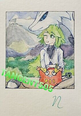 Pokemon White Trainer N Reshiram & Darumaka Original Watercolor Anime Fan Art US