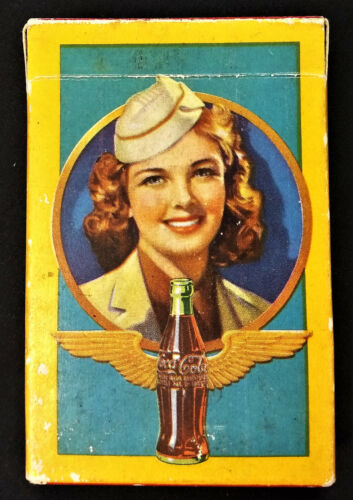 Coca Cola 1943 WW II Playing Cards with Airline Stewardess Image