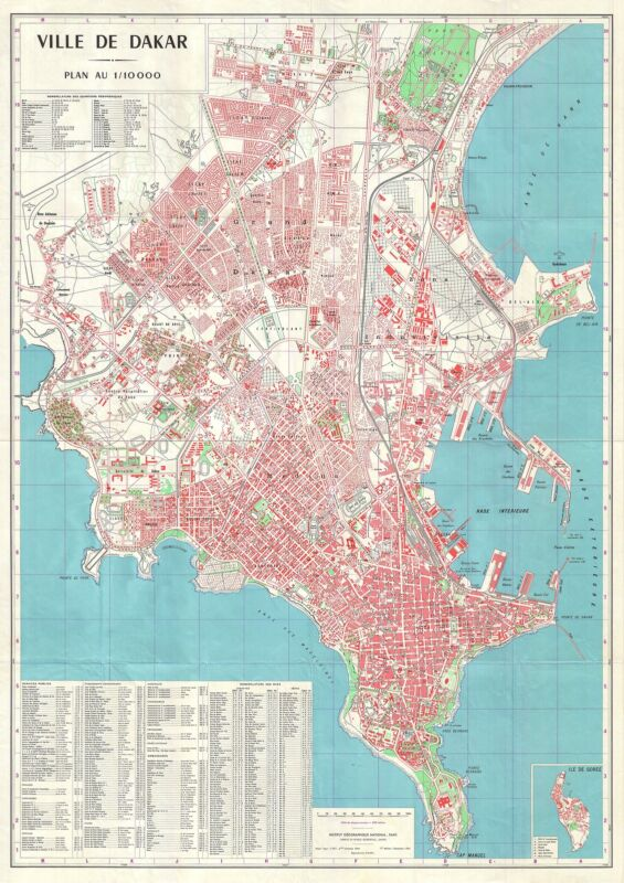 1964 Institute Geographique City Map of Dakar, Senegal