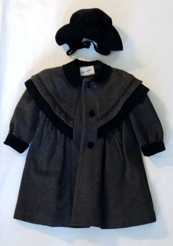 Vintage Rothchild 70% Wool Coat Girls Size 4 Gray With Velvet Trim And Hat