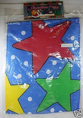 "12"" X 15"" HOLIDAY STAR FLAG CHRISTMAS BANNER 100% POLYESTER INDOOR OUTDOOR"