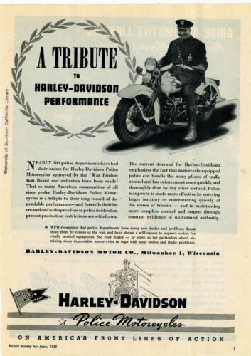 1945 Harley Davidson Police Motorcycles Ad: World War Two War Production Board