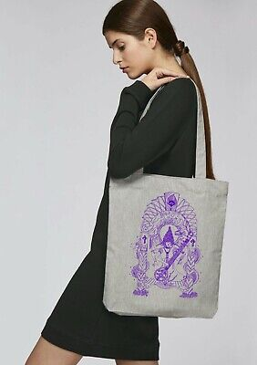Graphic canvas tote bag for life sitar goddess  vegan unique intricate design  Goddess Tote Bag