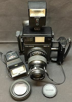 Vintage Polaroid 600 SE Instant Camera & Mamiya 150mm f/5.6 Lens 2 Flash Bundle