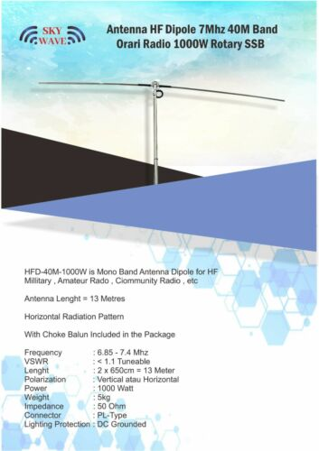 Long Dipole Antenna Base HF 40m Band  7MHz Tuneable Rotary Rotatable 1000W