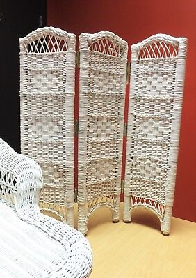 White Wicker 3 Panel Doll Screen / Room Divider