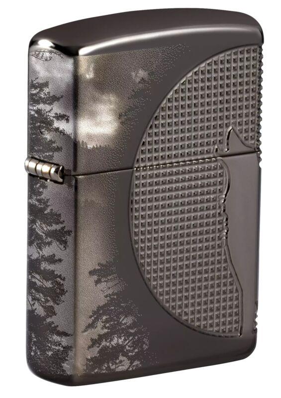 Zippo Wolf Design Armor Black Ice Windproof Pocket Lighter, 49353
