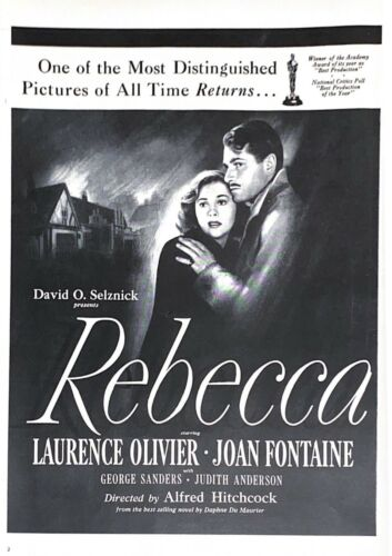 1946 Rebecca Motion Picture Vintage Print Ad Laurence Olivier Joan Fontaine