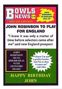 Personalised BOWLS Birthday Card c/w envelope Lawn Green Indoor Newspaper Ver1