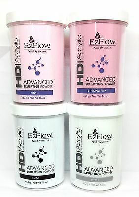 EzFlow HD Acrylic Advanced Sculpting Powder 453g/16oz - Choose Your Color - Ezflow Hd Powder