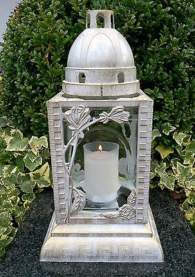 Grablaterne Grablampe Grabschmuck Grableuchte Grablicht in Weiß Gold + Grabkerze