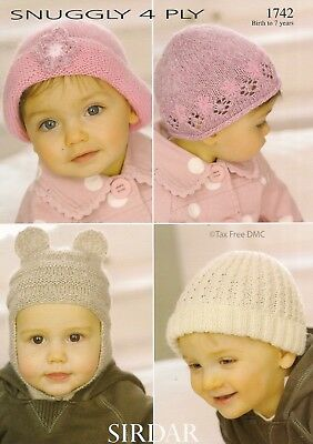 VAT Free Knitting PATTERN ONLY Sirdar Baby Toddler Child Hats Bonnets 1742 New Free Knitting Pattern Baby Hats