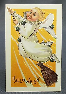 Antique Halloween Postcard Girl White Clown Costume Flying in - Antique Halloween Costumes