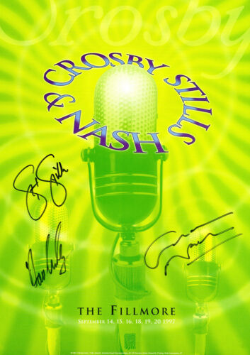 CSN Crosby Stills Nash SIGNED Fillmore Concert Poster 1997, (Green)
