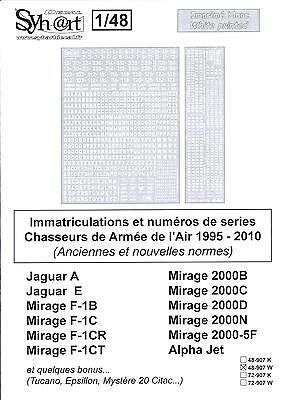 Syhart Decals 1/48 FRENCH AIR FORCE WHITE REGISTRATIONS SERIALS 1995-2010