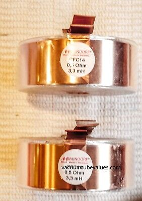Pair Two Mundorf Coil Inductor Cfc14 3.30 3.3 Mh Pure Copper Foil