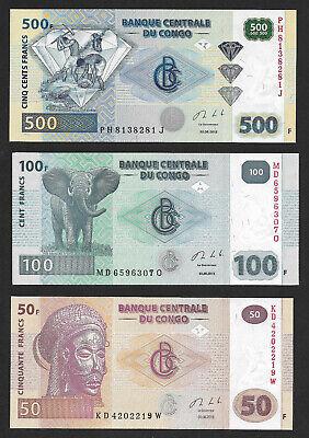 Congo serie lot 50 fr + 100 fr + 500 fr 2013 UNC