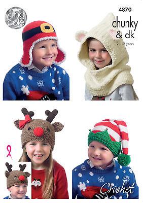 Festliche Weihnachten Hut Häkelmuster Kinder Neuheit Hüte King Cole 4870