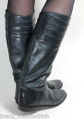 Leder Vintage Stiefel Damenstiefel Blogger Hipster Shoebiz Flats Military 80s 39