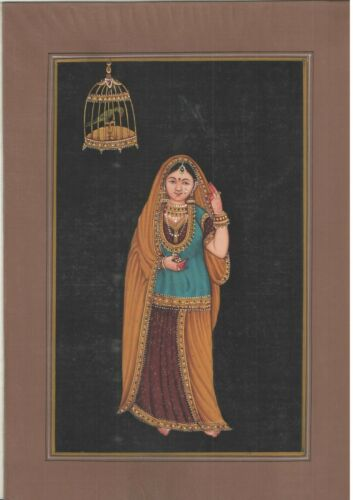 Indian+Miniature+Queen+Watercolor+Old+Paper+Decor+Royal+Lady+Handmade+Painting