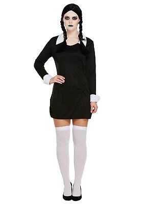 Halloween Scary Daughter Wednesday Adams Adult Ladies Fancy Dress Costume](Adult Wednesday Adams)
