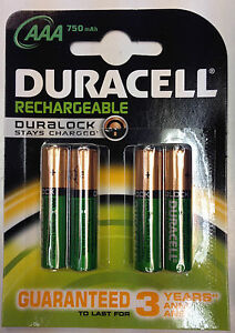 Duracell AAA 750 mAh Rechargeable Batteries NiMH ACCU LR03 HR03 DC2400 Pack of 4  eBay