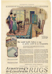 Vintage, Original, 1926 - Armstrong's Linoleum Rugs Advertisement
