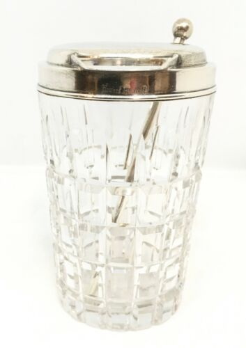 """c. 1925 Hawkes """"Vernay"""" Pattern Crystal & Sterling Cocktail Shaker and Stirrer"""