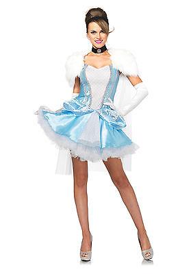 Sexy Halloween Adult Slipper-Less Sweetie Cinderella Princess Costume w Caplet