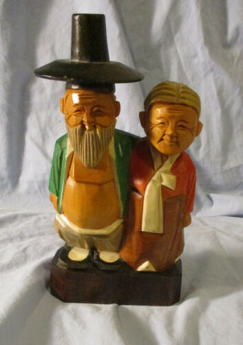 WOOD FIGURE- OLD ASIAN COUPLE (CHINESE?) HAND COLORED