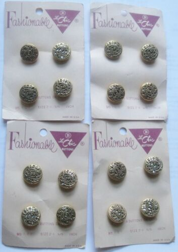 """16 Vintage Mirror Back Filigree Buttons Fashionable Le Chic on Cards 5/8"""""""