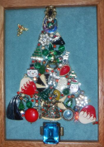 Vintage Jewelry Art Christmas Tree, signed, and Oak Estate Frame