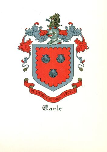 *Great Coat of Arms Earle Family Crest genealogy, would look great framed!