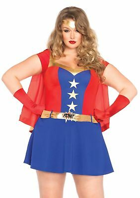 Comic Book Girl Superhero Fancy Dress Up Halloween Sexy Plus Size Adult Costume