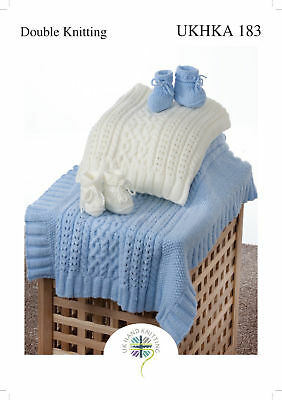 UKHKA 183 Baby Double Knitting Pattern for Cable Knit Blanket & Bootees