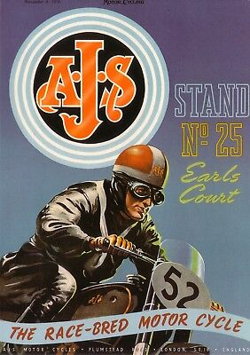 AJS Motorcycle Jumbo Fridge Magnet  Earls Court 1951