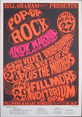 VELVET UNDERGROUND & NICO - ANDY WARHOL - MOTHERS1966 Concert Poster BG 8-3 MINT