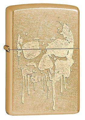 Zippo Windproof Gold Dust LIghter With Grunge Skull, 29401, New In Box