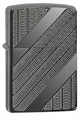 Zippo Armor Windproof Lighter, With Geometric Design, Coils, 29422, New In Box