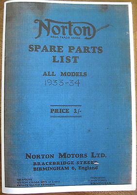 VINTAGE  NORTON  1934 ILLUSTRATED ALL MODELS  SPARES BOOK