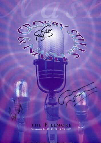 CSN Crosby Still Nash SIGNED Fillmore Concert Poster 1997, (Purple)