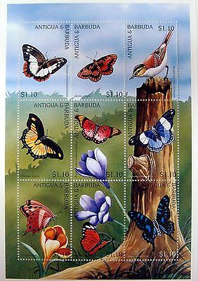 1997 ANTIGUA & BARBUDA BUTTERFLY STAMPS SHEET BUTTERFLIES INSECT MOTH BIRD ANTBF