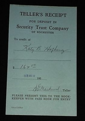 Vintage 1928 Teller's Receipt - Security Trust Co. of Rochester (New York)