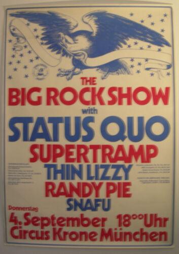 STATUS QUO SUPERTRAMP THIN LIZZY RANDY PIE SNAFU CONCERT TOUR POSTER 1975