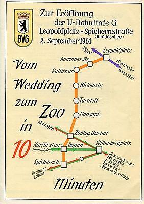 Zur Eröffnung der U-Bahnline G Leopoldplatz - Spichernstraße 2. September 1961