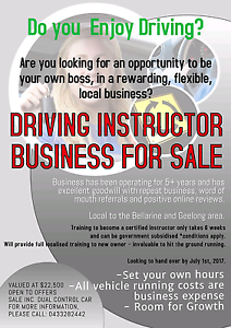 DRIVING INSTRUCTOR BUSINESS FOR SALE Clifton Springs Outer Geelong Preview