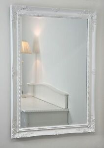 Isabella White Shabby Chic Rectangle Antique Wall Mirror 42