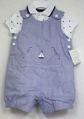 Little Me Outfit Blue White Sailboats Shirt overall shorts  2 pc New Infant 9 M